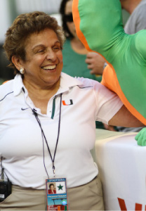 University of Miami President Donna Shalala poses with a spirited fan.