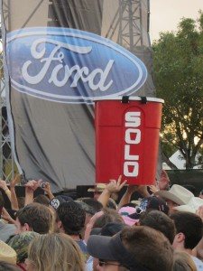 A Red Solo Cup makes a special appearance at the concert. Whether he had to purchase his own ticket is uncertain.