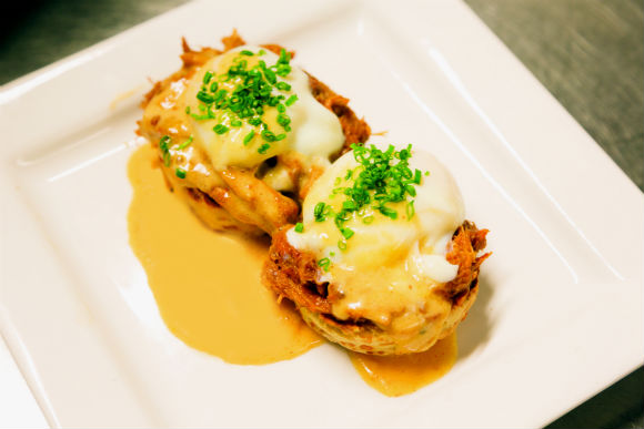 OTC's pulled pork eggs benedict