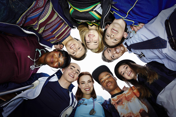 CLOCKWISE FROM TOP CENTER: ZOE LEVIN, GRIFFIN GLUCK, DAVE ANNABLE, CIARA BRAVO, ASTRO, REBECCA RITTENHOUSE, CHARLIE ROWE, OCTAVIA SPENCER, NOLAN A. SOTILLO