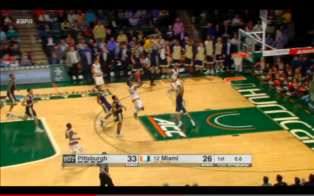 McClellan makes a shot at the end of the first half. / Hurricane Sports