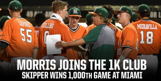 Miami skipper Jim Morris won his 1000th game as manager Saturday night after another 'Canes walk-off win, 5-4 / Hurricanesports