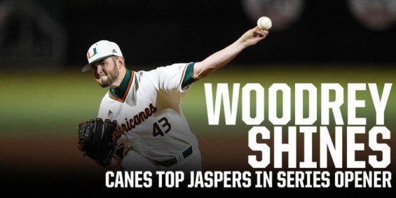 Miami pitcher Michael Woodrey recorded the win against Manhattan / Hurricanesports