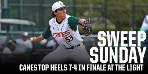 Andrew Cabezas pitching for Miami in Sunday's 7-4 series sweep / Hurricanesports