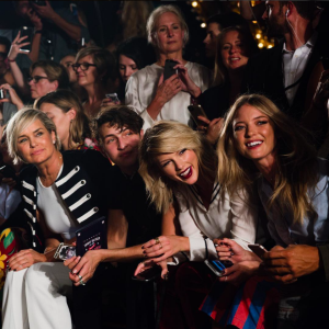 Yolanda Foster, Anwar Hadid and Taylor Swift sat in the front row. During the closing of the show, Gigi Hadid stopped to hug her family and Swift.