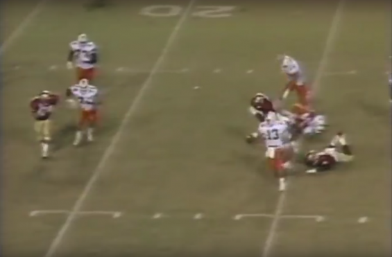 Miami's Gino Torretta moments before he throws an interception against Florida State in 1989.