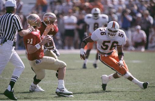 Miami linebacker Michael Barrow keys in on Florida State in 1991.