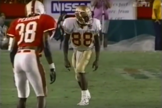 Miami safety Malcom Pearson in coverage against Florida State in 1994.