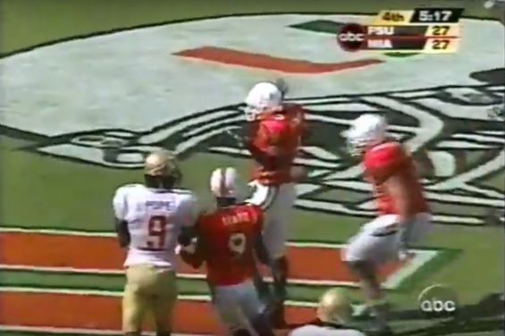 Miami reciever jason Geathers celebrates his game-winning touchdown against Florida State in 2002.