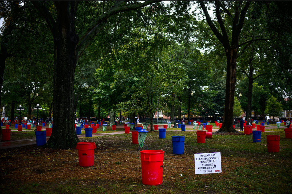 Tailgate goers at Ole Miss pay $8-10 for these barrels to save their spot for their tents on game day. Source: New York Times.