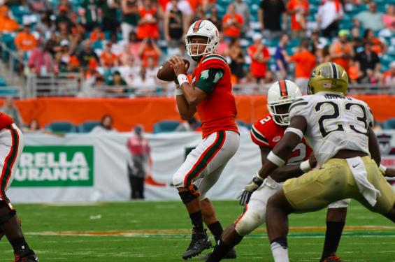 Miami quarterback Brad Kaaya looks to pass against Pittsburgh Saturday at Hard Rock Stadium in Miami Gardens. (hurricanesports)