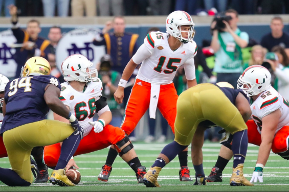Miami quarterback Brad Kaaya makes a call at the line of scrimmage against Notre Dame in South Bend, Ind. (hurricanesports)