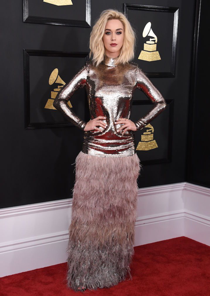 Katy Perry at the 59th Annual Grammys, wearing a Tom Ford dress. Source: POPSUGAR