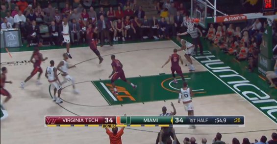 Miami guard Anthony Lawrence Jr. attempts a three-point shot late in the first half against the Virginia Tech Hokies in Coral Gables, Fla. (ACC Network)