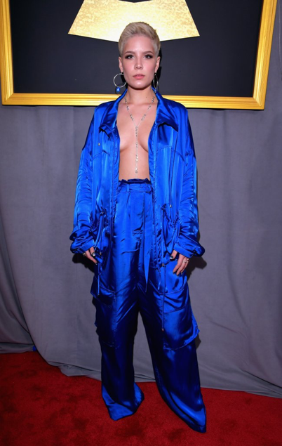 Halsey, at the 59th Annual Grammys, wearing a baggy Christian Wijnants suit. Source: Popsugar