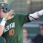 Miami's Romy Gonzalez went 2-5 against St. Thomas, including a home-run, Wednesday night at Mark Light Field at Alex Rodriguez Park in Coral Gables, Fla. / (Hurricanesports)